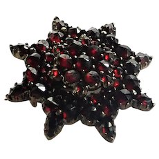 French Regional Garnet and Silver Gilt Pin