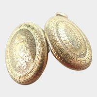 Victorian 15K Gold Double Sided  Engraved Locket