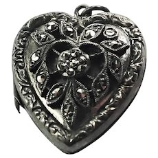English Silver and Marcasite Heart Locket Charm