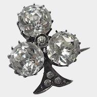 French Antique Silver and Pastes Fleur de Lis Pin