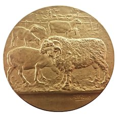 French Circa 1900 Bronze Farm Animals Medal - RIVET
