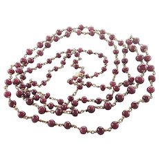 Rubies on  English 9 Carat Gold Long Necklace