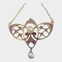 Antique 15K Gold Rubies and Pearls Pendant Necklace
