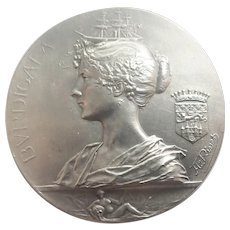 French 1895 Silvered Bronze Bordeaux Medal - A RIVET