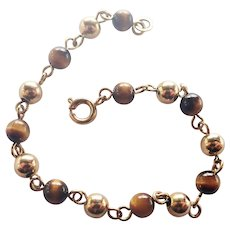 French Tiger's Eye  and Gold Filled Beads Bracelet