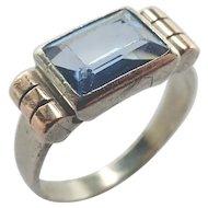 French Art Deco Silver Gemstone Ring