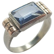 French Art Deco Silver Gemstone Ring