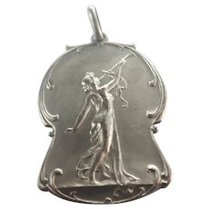 Art NouveauLady Silver Pendant or Medal - French or Belgian