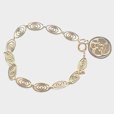 French Gold Filled Bracelet with Angel Medallion