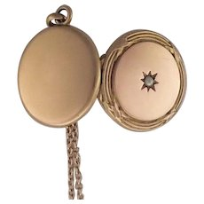 French Antique Gold Filled Locket and Chain