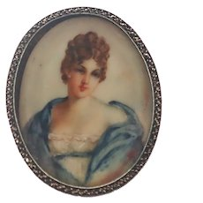 French Art Deco Silver Hand Painted Portrait Pin -After Mme Récamier