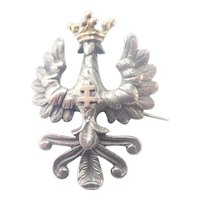 French Art Nouveau Silver Bird Cross and Crown Pin