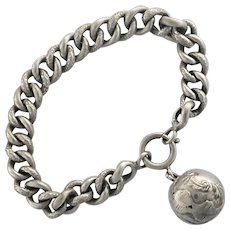 French Antique Silver Engraved Ball Charm Bracelet