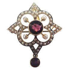 Victorian 9K Gold Garnet and Seed Pearl Pendant/Pin