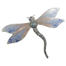 Large Silver Enamel Dragonfly Brooch