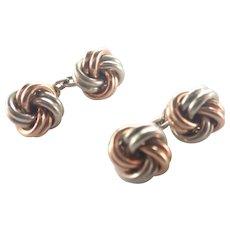 German 835 Silver and Vermeil Knot Cufflinks