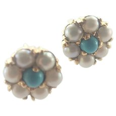 English 9K Gold Pearl and Turquoise Earrings - Pierced Ears