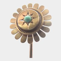 Victorian 15K Gold and Turquoise Sunflower Stick Pin