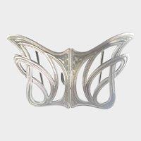 Art Nouveau English 1908 Silver Engraved Buckle