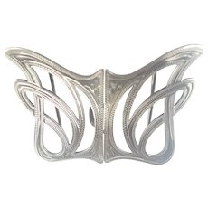 Art Nouveau English 1908 Silver Engraved Buckle