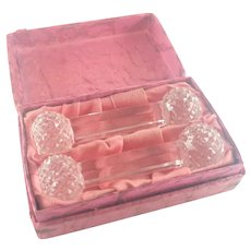 Art Deco Czech Crystal Glass Knife Rests - Boxed