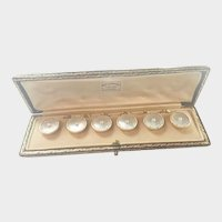 Antique 9K Gold Pearl and Enamel Cufflinks in Original Box