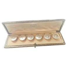 Antique 9K Gold Pearl and Enamel Cufflinks in Original Box