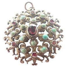 Austro-Hungarian Antique Silver Gilt Garnets and Turquoise Pendant