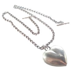 Early Victorian Silver Heart Locket and Chain Necklace