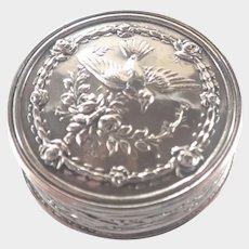 French Antique Silver Swallow and Roses Pill Box