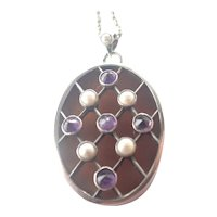 French Silver , Amethyst and Pearl Pendant Necklace