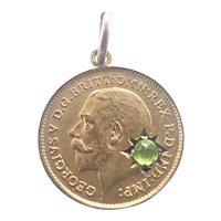 George V 1911 Silver Gilt Paste Coin Token Charm