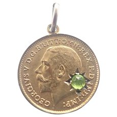 George V 1911 Silver Gilt Paste Coin Token Charm