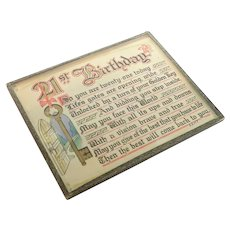 English 1944 Illuminated 21st Birthday Plaque