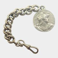 French Art Nouveau Silver Watch Chain Marianne Medallion