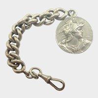 French Art Nouveau Silver Watch Chain Marianne Medallion