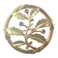 French Art Nouveau Holly Gold Filled 'FIX' and Ruby Pin