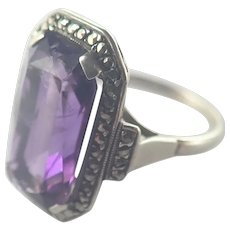 European Art Deco Silver and Amethyst Ring