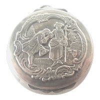 French Antique Silver Courting Couple Compact Pendant