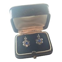French Antique Silver and Pastes Lever Back Earrings - Boxed
