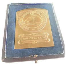 French Art Deco Gold Plated Horse Medal - Boxed