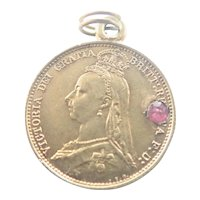 Victorian 1887 Gilded Silver Sixpence Paste Love Token