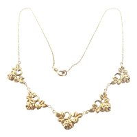 French Art Deco Gold Filled Roses Necklace - ORIA