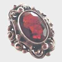 Arts and Crafts European 800 Silver Red Amethyst Ring