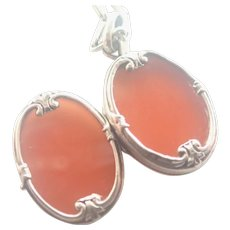 French Antique Silver and Carnelian Agate Locket with Sterling Chain