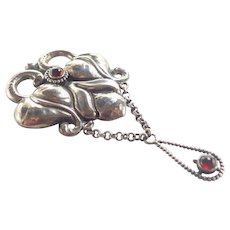 Danish Skonvirke Art Nouveau 830 Silver Drop Brooch