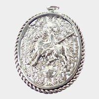 French Late Victorian Silver Horse and Rider Medallion Pendant