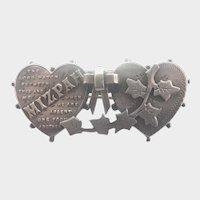 Victorian Sterling Hearts 'MIZPAH' Pin