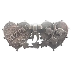 Victorian Sterling Hearts 'MIZPAH' Pin