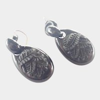 Victorian Whitby Jet Carved Fern Drop Earrings - Gold Wires